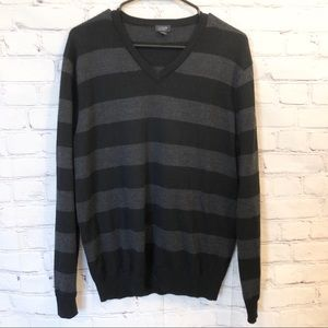 J. Crew black and grey striped v-neck sweater